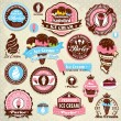 Stock Vector: Vintage ice cream label set template