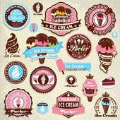 Vintage ice cream label set template — Stock Vector