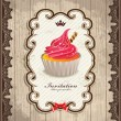 Vintage frame with cupcake template — Stock Vector #25291567