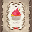 Stock Vector: Vintage frame with cupcake template