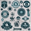 Vintage nautical label icon set template — Stock Vector