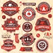 Vintage retro camping labels, icon collection sets — Stock Vector