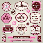 Vintage frame cupcake, bakery, bread, sandwich label set — Stock Vector