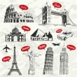 Vintage travel vacation labels with famous building — Image vectorielle