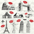 Vetorial Stock : Vintage travel vacation labels with famous building