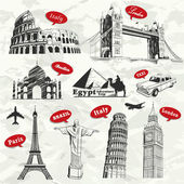 Vintage travel vacation labels with famous building — Stock Vector