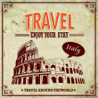Vintage Travel Italy Colosseum in Rome vacation labels — Stock Vector