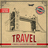 Vintage travel london vacation poster — Stock Vector