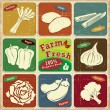 Vintage farm fresh label poster with Scallions, Potato, Celery, Pepper, Onion, Lettuce, Egg plant, Broccoli  — Stock Vector