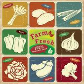 Vintage farmě čerstvé label plakát s jarní cibulkou, brambor, celer, paprika, cibule, salát, vejce rostlin, brokolice — Stock vektor