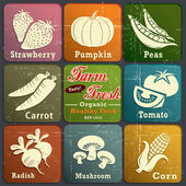 Vintage farmě čerstvé label plakát s jahody, dýně, hrášek, mrkev, rajčata, ředkvičky, houby & kukuřice — Stock vektor