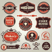 Vintage set of cupcake bakery label frame set — Stock Vector