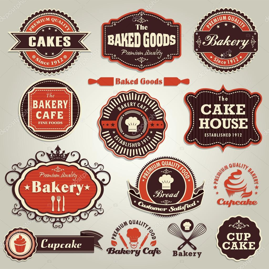 Vintage set of cupcake bakery label frame set — Stock Vector © Sze
