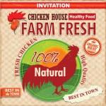 Vintage farm fresh chicken poster — Stock Vector #29173305