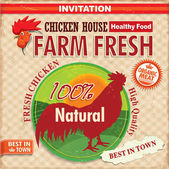 Vintage farm fresh chicken poster — Stock Vector