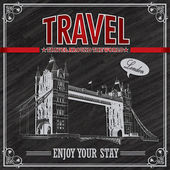 Vintage London Travel vacation poster — Stock Vector