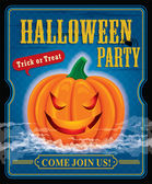 Vintage halloween party poster design — Stock Vector