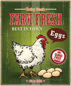 Vintage farm fresh chicken egg label poster — Stock Vector