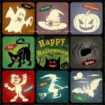 Vintage halloween poster, label design set — Stock Vector