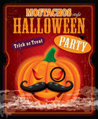 Vintage halloween mostachos style poster design — Stock Vector