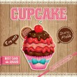 Vintage cupcake poster design with wood background — Imagen vectorial