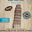 Vintage Italy Leaning Tower of Pisa travel vacation poster — Stock Vector #30837201