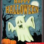 Vintage Halloween ghost poster design — Stock Vector