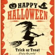 Vintage Halloween witch poster design — Stock Vector
