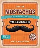 Mostachos vintage, design de cartaz de bigode — Vetor de Stock