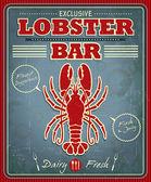 Conception d'affiche Vintage homard bar — Vecteur
