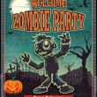 Vintage halloween zombie poster design — Stock Vector