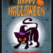 Vintage halloween cat with witch hat poster design — Stock Vector