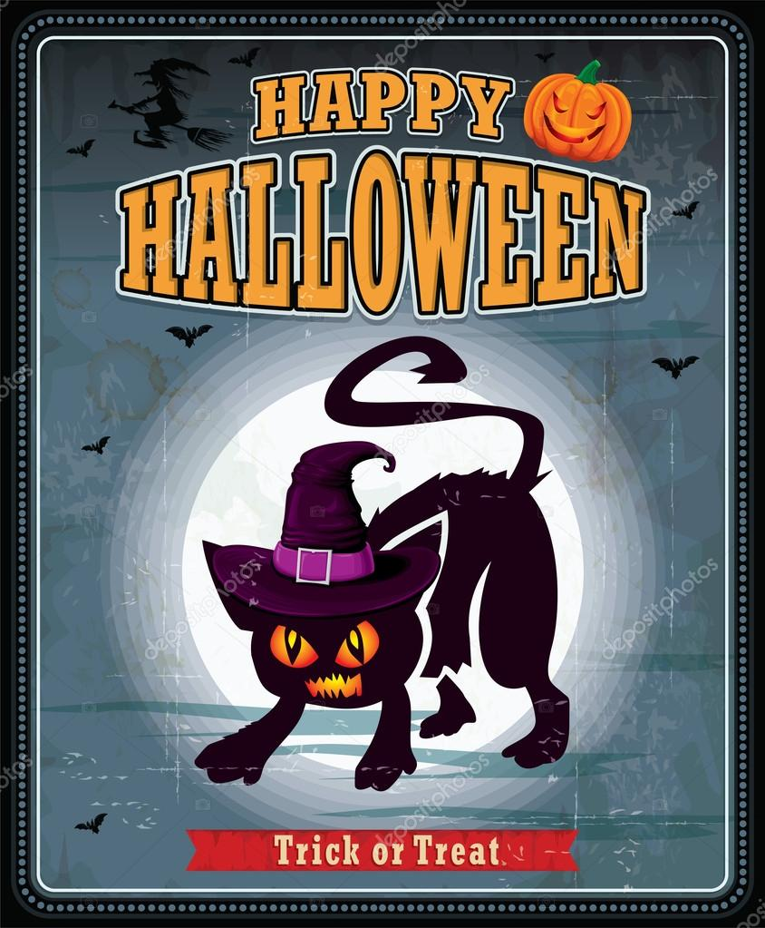 Vintage halloween cat with witch hat poster design — Stock Vector ...