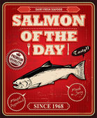 Vintage Salmon poster design — Stock Vector