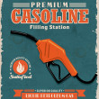 Vintage gasoline poster design — Stock Vector