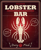 Vintage lobster bar poster design — Stock Vector