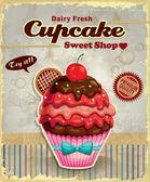 Cartellonistica d'epoca cupcake — Vettoriale Stock
