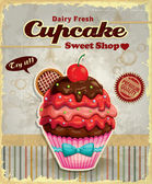 Vintage cupcake poster design — Wektor stockowy