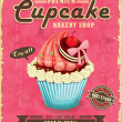Vintage cupcake poster design — Stock Vector #34741809