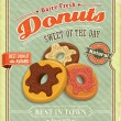 Vintage donuts poster with label — Stock Vector #34985919