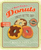 Vintage donuts poster with label — Stock Vector