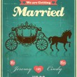 Vintage carriage wedding poster design — Stock Vector #35234555