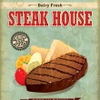 Vintage Steak house menu poster design — Stock Vector