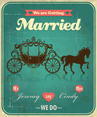 Vintage carriage wedding poster design — Stock Vector
