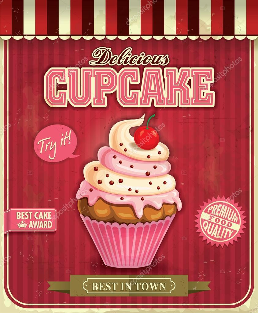 vintage cupcake poster design stock vector donnay 36652681. Black Bedroom Furniture Sets. Home Design Ideas