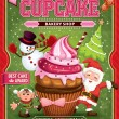 Vintage Christmas cupcake poster design with Santa Claus, elf & snowman — Stock Vector