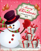 Vintage Christmas poster design with snowman — Stock Vector