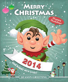 Vintage Christmas poster design with Elf — Stock Vector