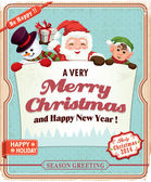 Vintage Christmas poster design with Santa Claus — Stock Vector