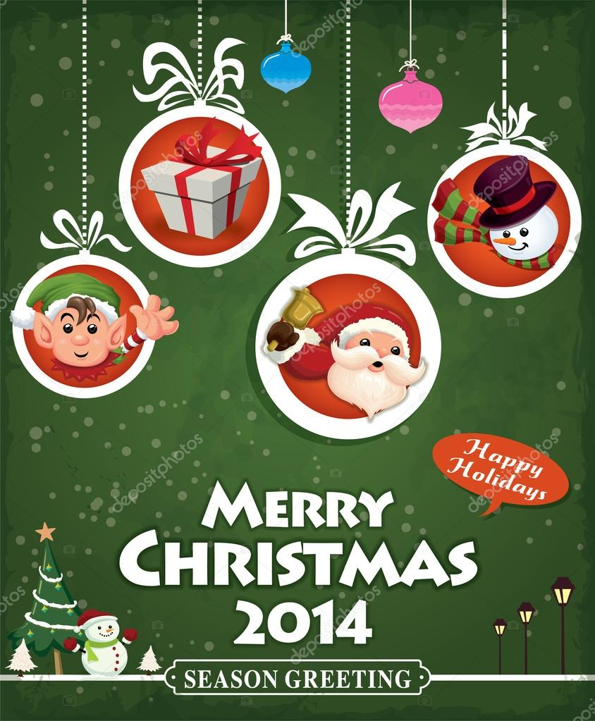 Xmas poster design - Vintage Christmas Poster Design With Santa Claus Stock Vector 37508407